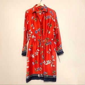 NWT Floral Silk Button Down Dress